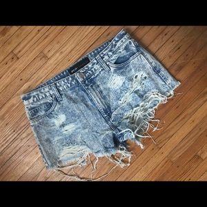 Nasty Gal light  wash distressed jean shorts
